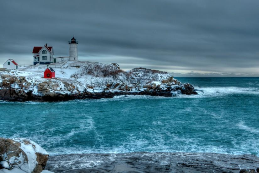 winter sea rocky coast lighthouse landscape wallpaper