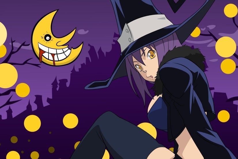 Preview wallpaper soul eater, blair, girl, hat, moon, pose 1920x1080
