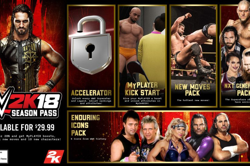 Keeping with previous traditions and already announced to be included in  certain versions of WWE 2K18, the game will once more include a season pass.
