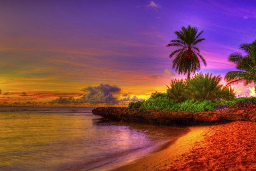 Tropical Beach Sunrise Background 1 HD Wallpapers