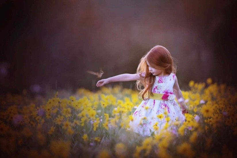 Cute Little Girl with Bird HD Wallpapers HD Wallpapers
