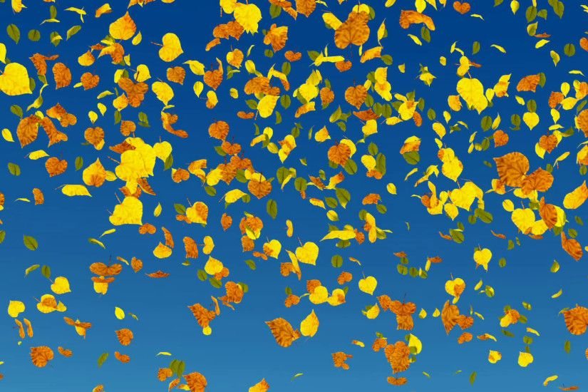 Falling autumn leaves in slow-motion on blue sky background. Fall season  decorative 3D animation. Stock Video Footage - VideoBlocks