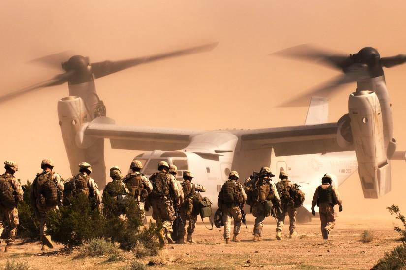 Soldier Marines Bell V-22 Osprey a tiltrotor the desert military wallpaper