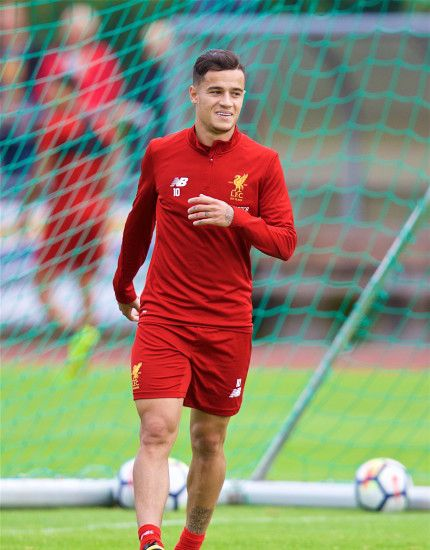 ROTTACH-EGERN, GERMANY – Friday, July 28, 2017: Liverpool's Philippe  Coutinho Correia during a training session at FC Rottach-Egern on day three  of the ...