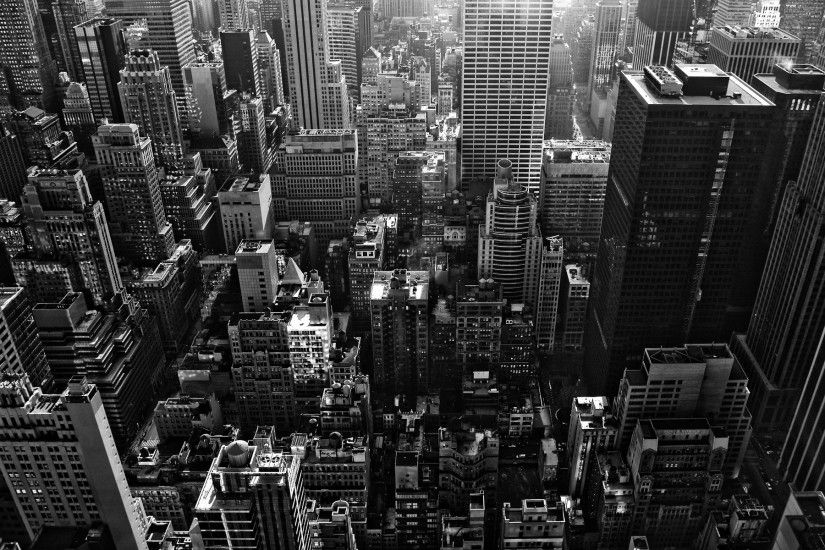 New York Buildings City Skyline Black and White Wallpaper HD #7733 Wallpaper