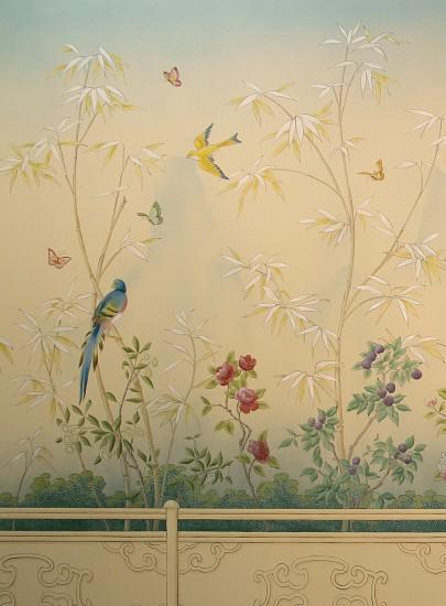 These garden themed murals for a lakefront dining room are in a traditional  Chinoiserie scenic style