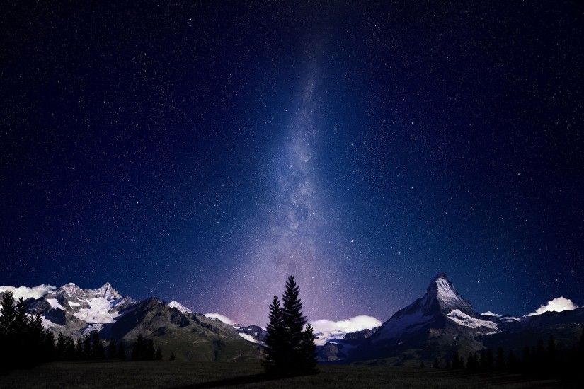 nice night sky lights over snowy mountains wallpaper