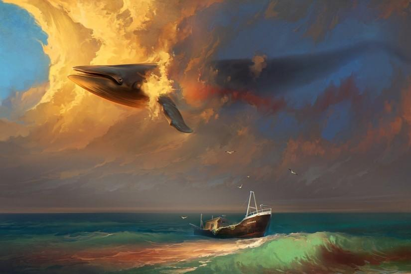 RHADS fantasy mood emotion sorrow sad whales animals painting artistic art  sky clouds cg digital shipwreck