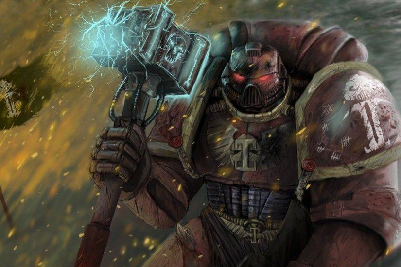 Preview wallpaper warhammer 40k, space marine, game, space marine, hammer,  flag