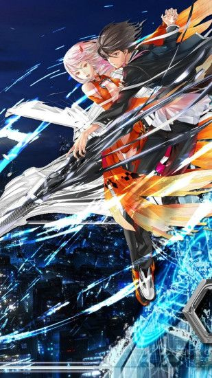 1080x1920 Wallpaper guilty crown, male, female, flight, city