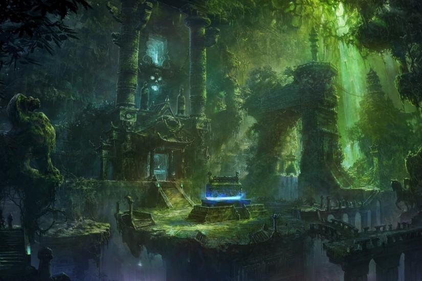 Fantasy forest ruins buildings jungles wallpaper | 1920x1200 | 48540 .