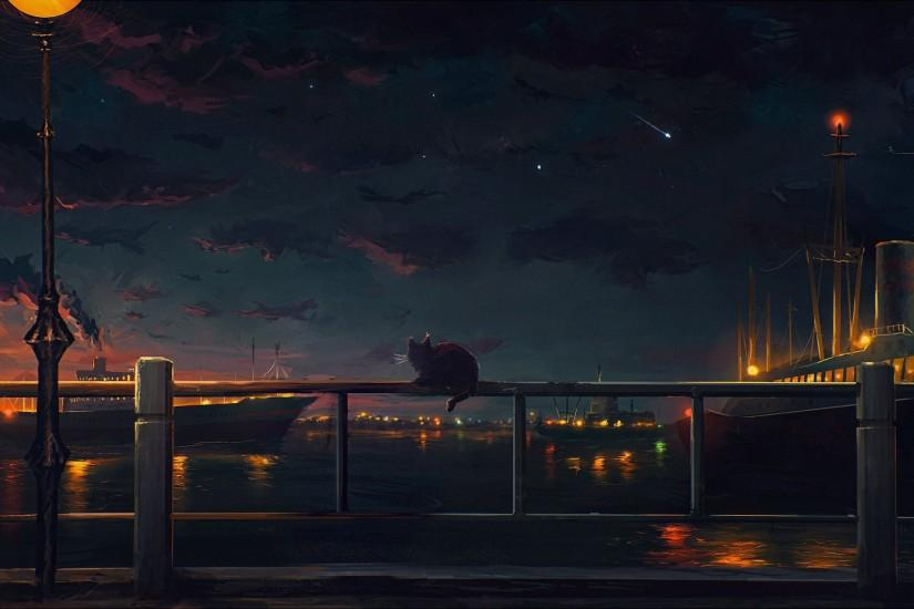 Anime landscape sky city light sky sea ship wallpaper | 3500x1969 | 607190  | WallpaperUP