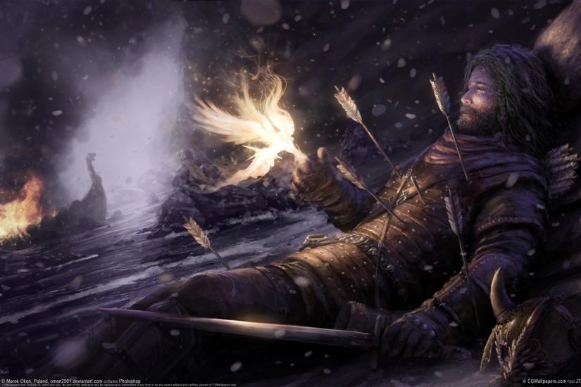 Norse Warrior Being Picked up by a Valkyrie FullHD Wallpaper