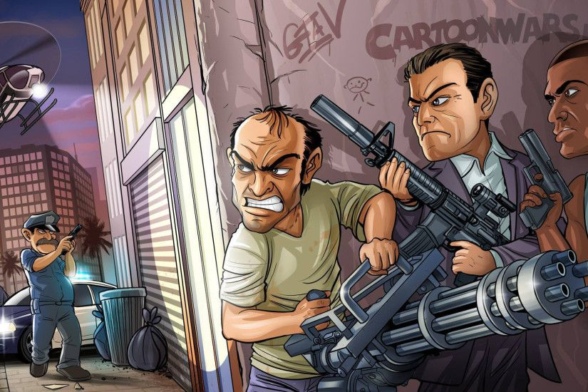 1920x1080 Wallpaper bandits, weapons, michael, trevor phillips, franklin,  grand theft auto