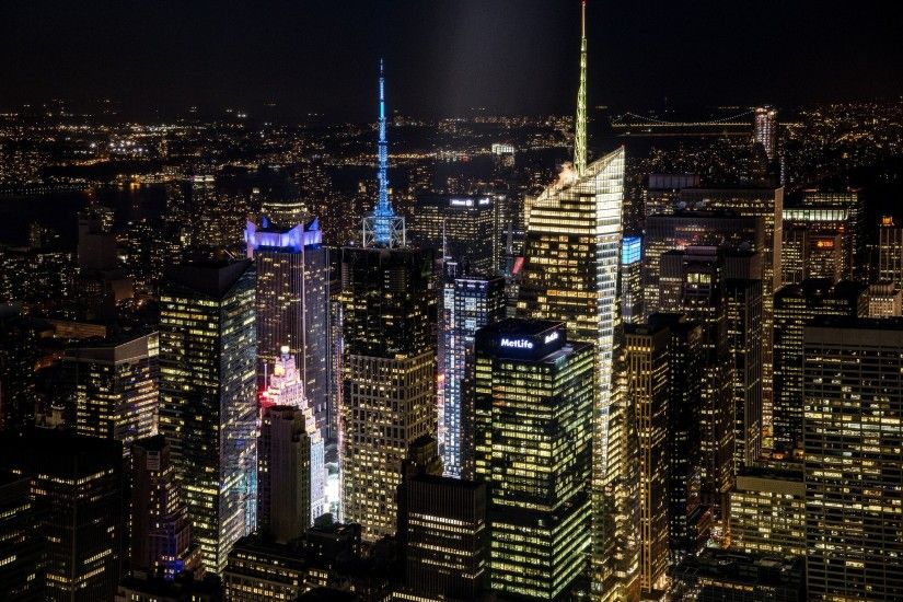 New York City Lit Skyscrapers Night Architecture Desktop Wallpapers