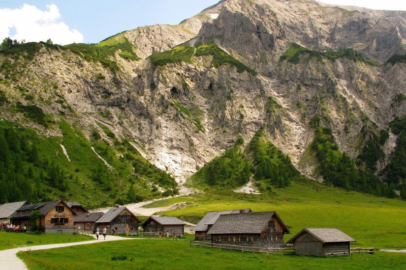 austria, mountains, house, village, alps