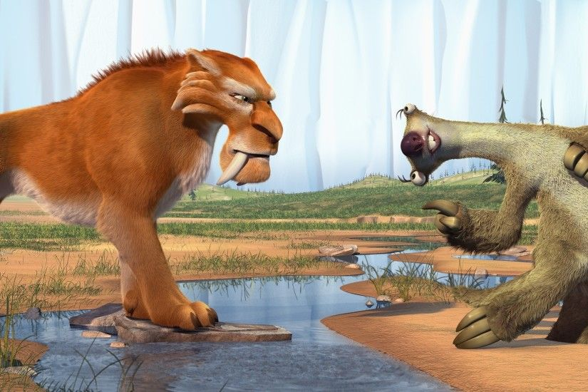 3840x2160 Wallpaper ice age, diego, sid, saber-toothed tiger, sloth