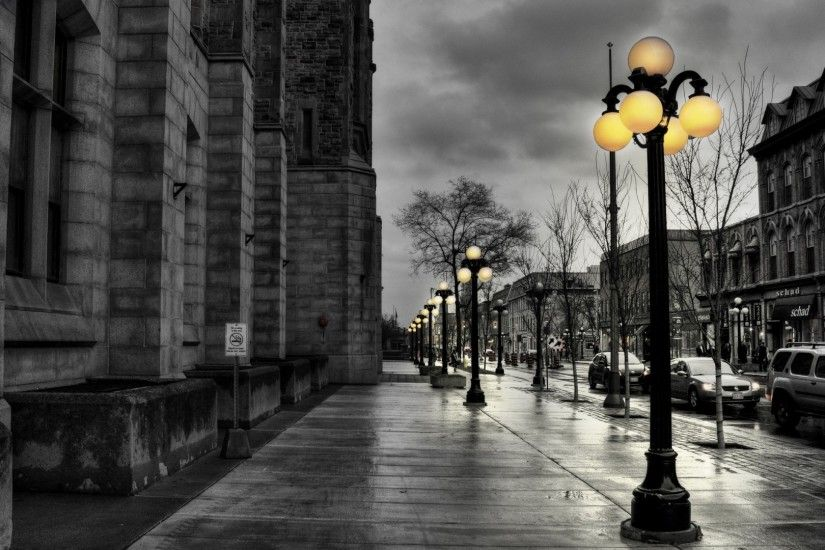 1920x1080 Wallpaper street, city, evening, black white, lights, buildings,  hdr