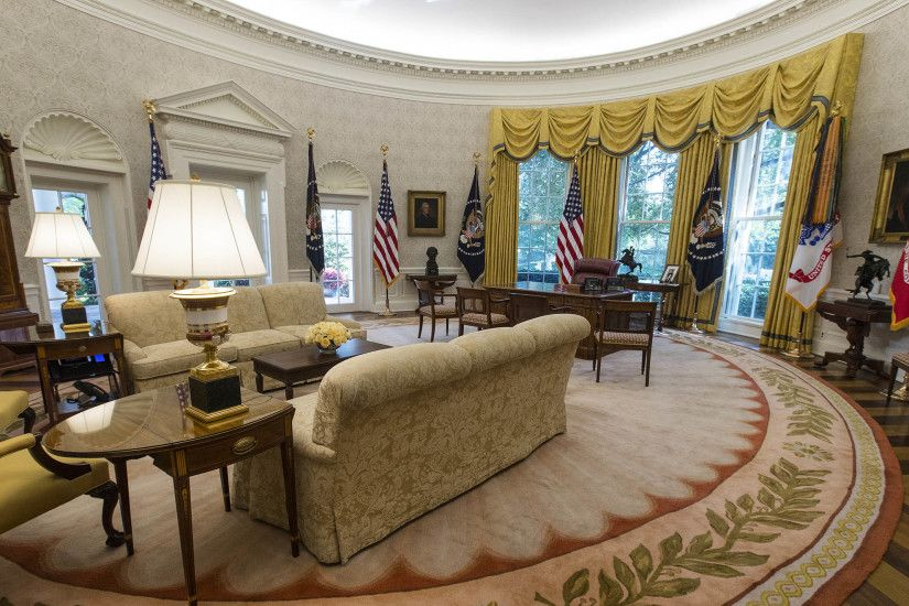 "One White House official called it ""temporary wallpaper,"" saying it may or  may not be switched after Trump selects a permanent rug design."