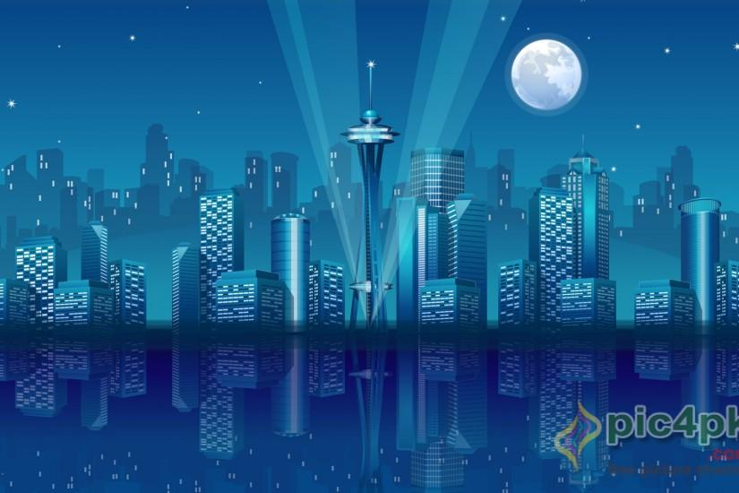 Blue City Wallpaper Vector 3D Wallpapers in jpg format for free .