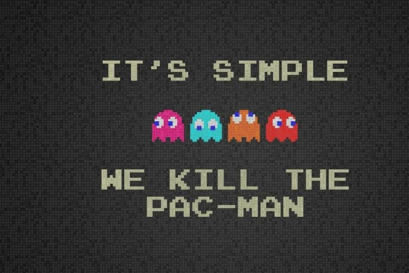 Preview wallpaper pacman, quote, characters, background, font 2048x2048