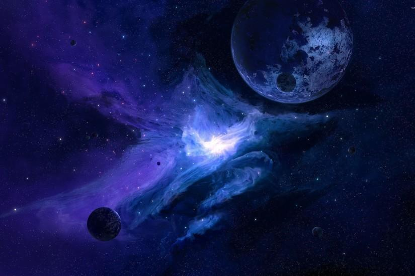 Planet in the blue galaxy wallpaper 2560x1600 jpg