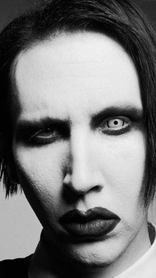 Preview wallpaper marilyn manson, face, makeup, gloves, haircut 1440x2560
