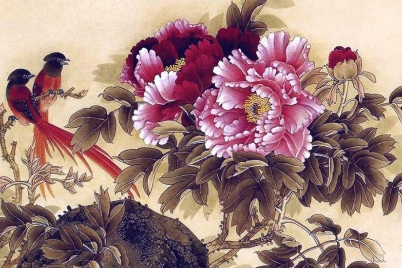 Flowers Birds Floral Painting Japanese Oriental Peonies Chinese Wallpaper  Flower For Mobile