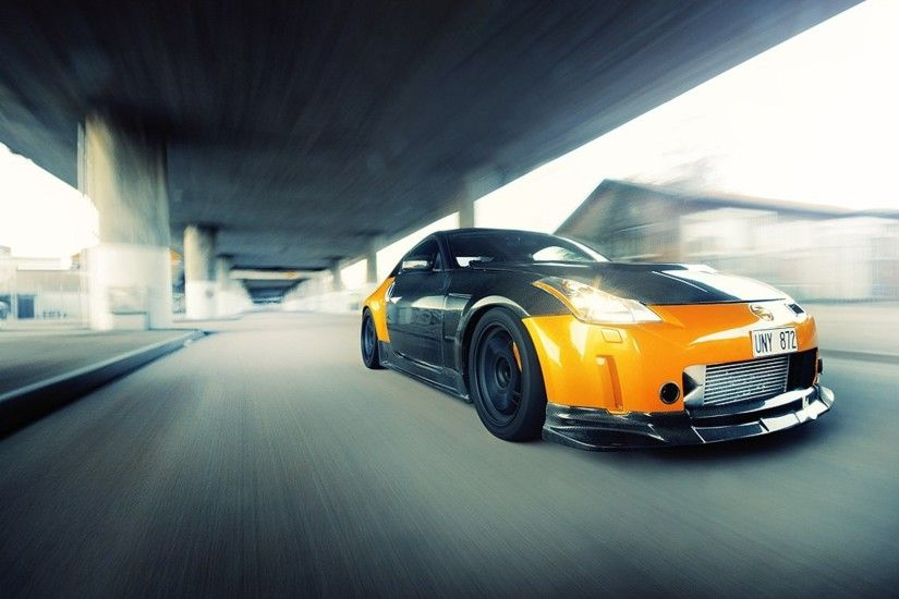 ... nissan 350z, car, motion picture, road, speeding, auto wallpaper