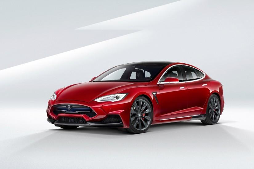 Red Tesla Wallpaper Background HD 19142