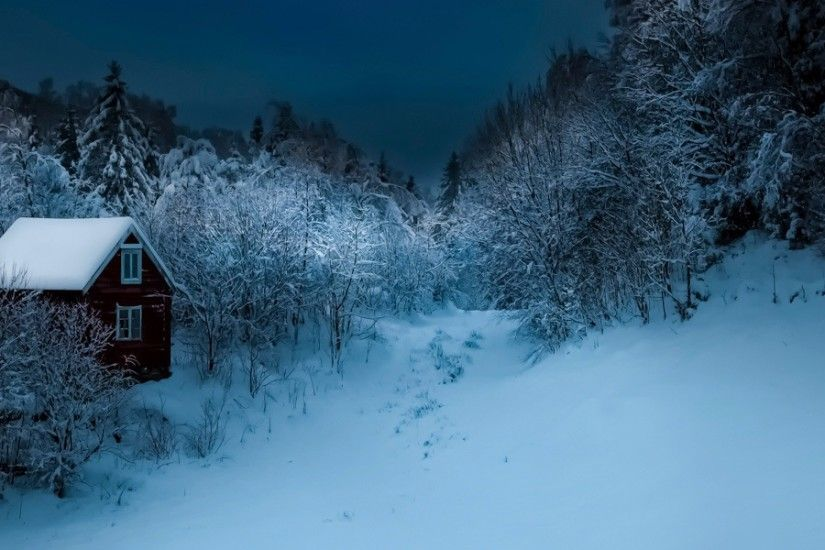 3840x1200 Wallpaper building, winter, snow, night, forest