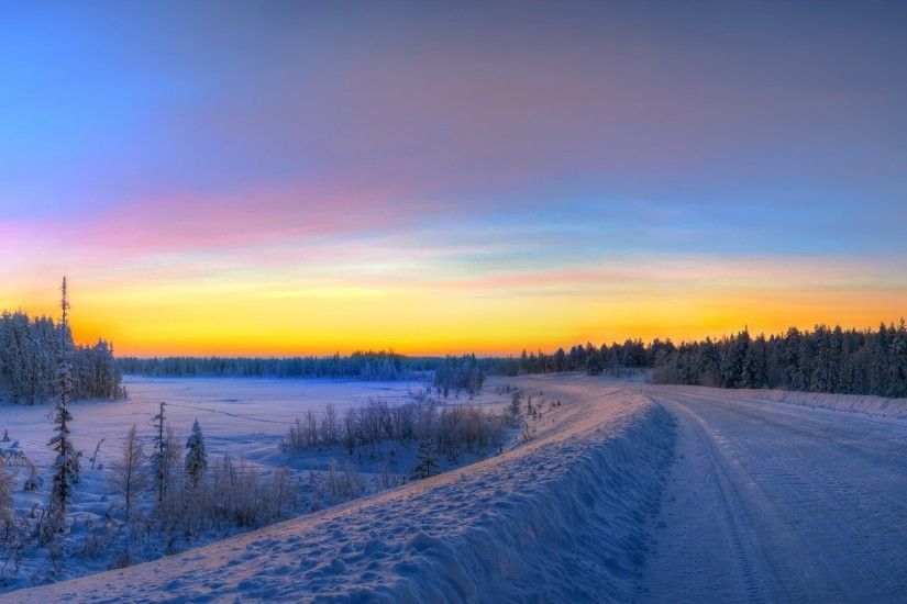 Preview wallpaper panorama, sunset, road, winter, landscape 3840x2160