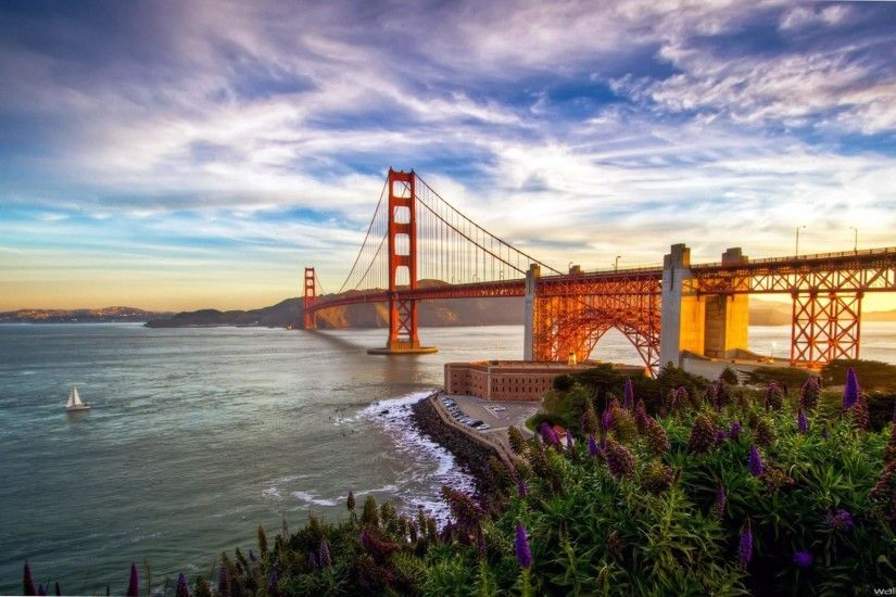golden gate bridge sunset san francisco california usa hd image wallpaper -  2560 x 1440