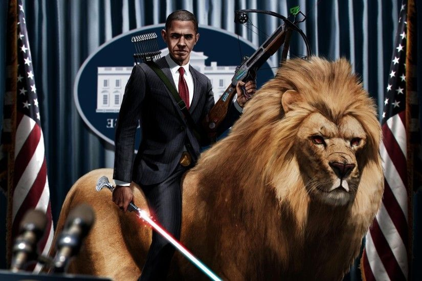 Barack Obama, Digital Art, Artwork, Lightsaber, Lion, Crossbows, Presidents,  Humor, Flag Wallpapers HD / Desktop and Mobile Backgrounds