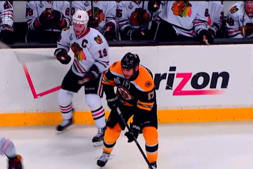 Milan Lucic Rocks Jonathan Toews with the Big Hit June 17 2013 HD Game 3  Stanley Cup Finals