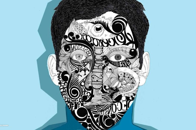 man with tattoo face vector 1080p