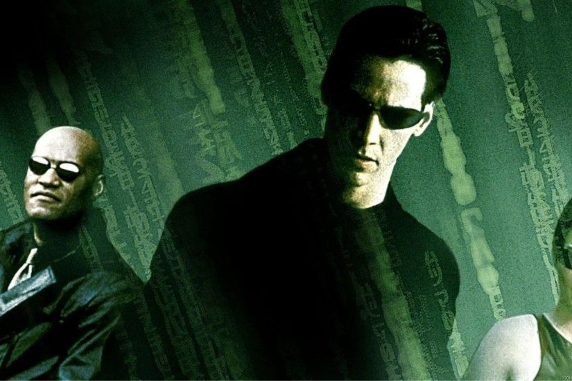 Morpheus (Laurence Fishburne), Neo (Keanu Reeves) and Trinity (Carrie-