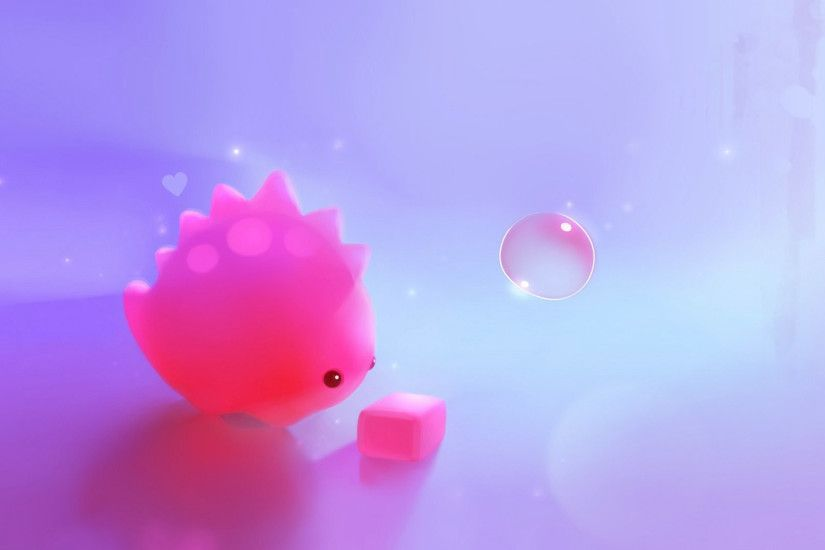 Cute pink dinosaur wallpaper HD.