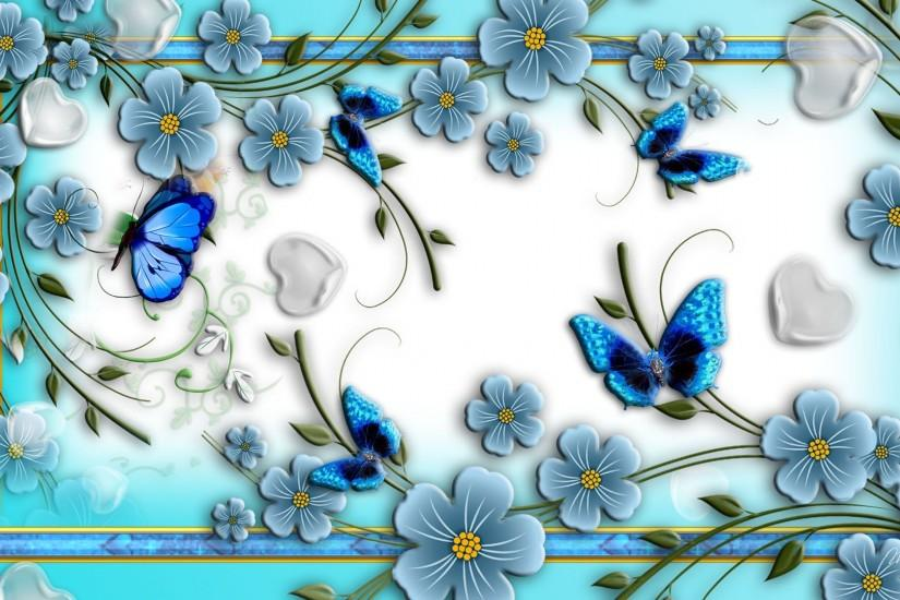 Download Free Blue Butterflies On Abstract Flowers HD Wallpapers