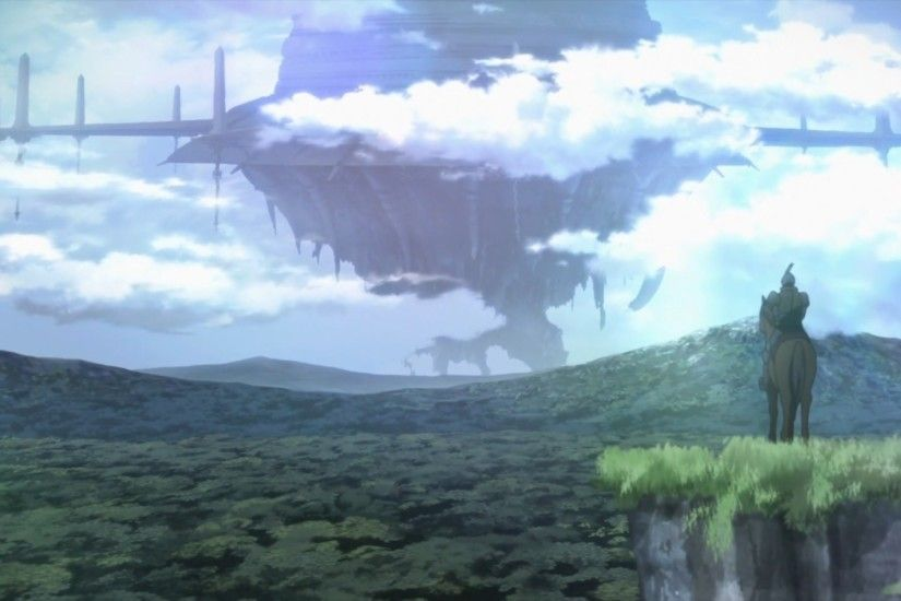 Download Wallpaper · Back. fantasy fortress anime floating island ...