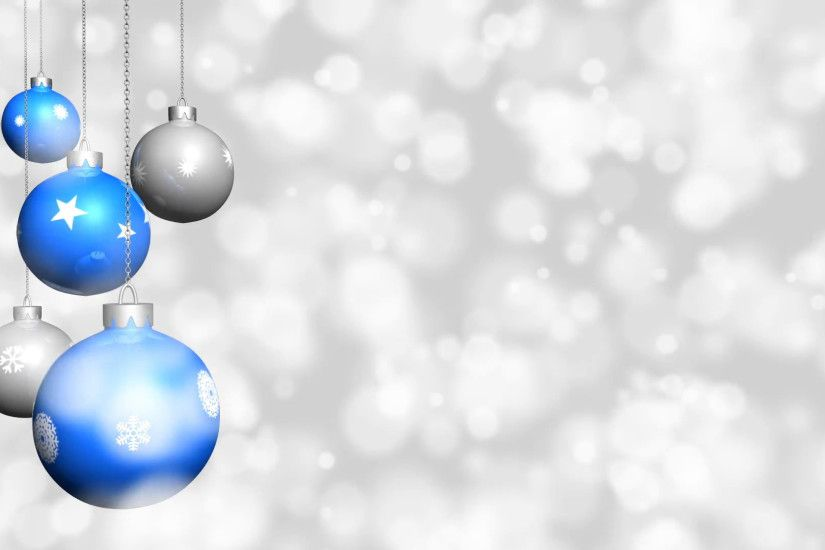 Christmas ornaments with snow background - Looping