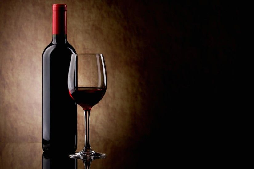 Wallpaper red wine glass and bottle
