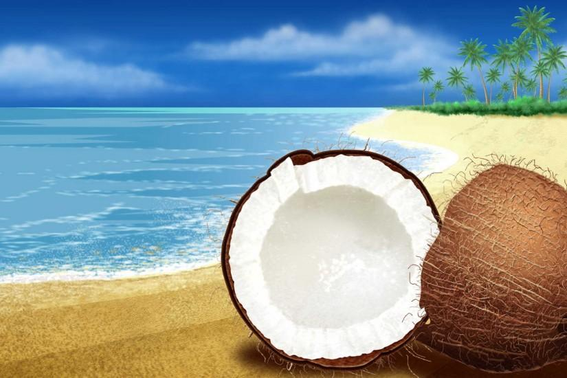 Nature wide screen wallpaper coconut sea.