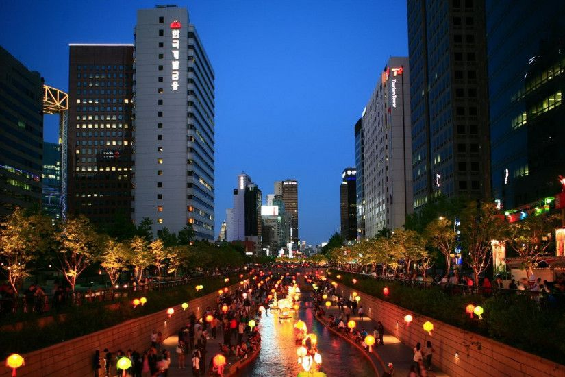 Preview wallpaper korea, asia, seoul, south korea, night, city, lights