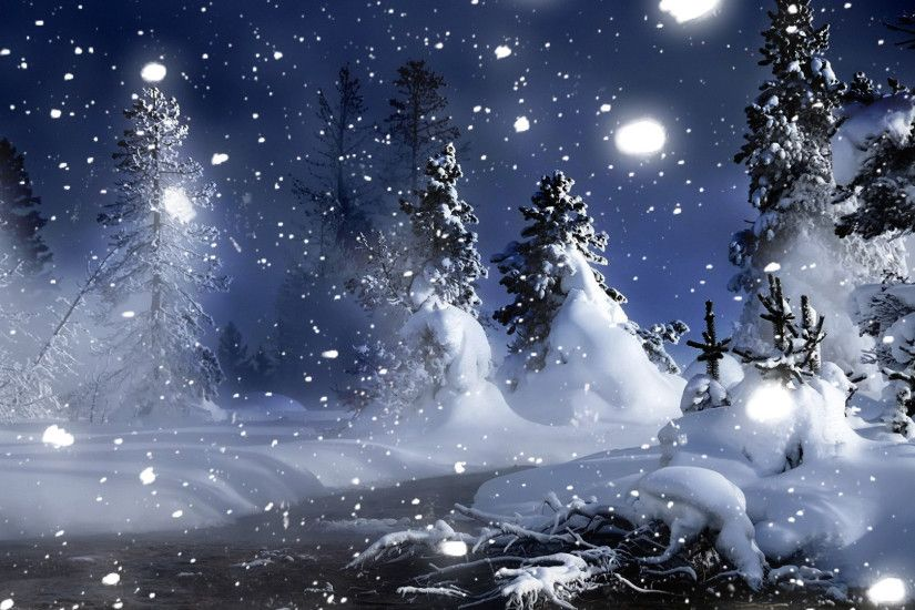 3D Winter Night Snow Desktop Wallpaper