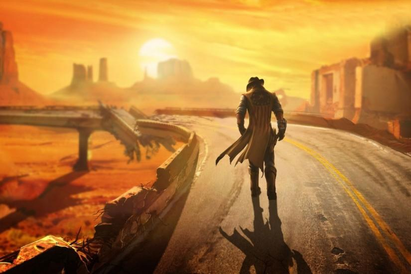 Preview wallpaper fallout, new vegas, wasteland, loner, road, hero 2048x1152