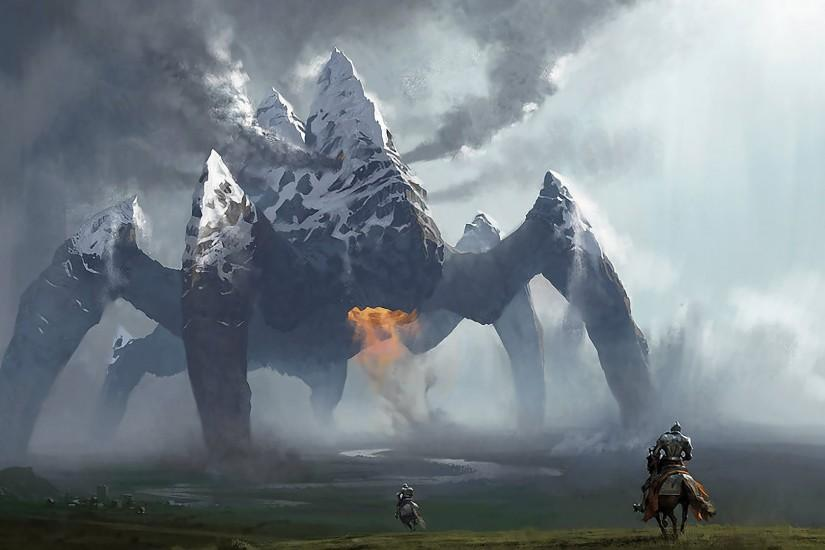 Artwork Fields Horsemen Knights Monsters Mountains Mtg Rift Spiders  Wallpaper