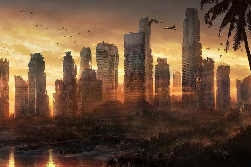 Dead City Destroyed City Abandoned Forests Sunset Apocalyptic Cities »  WallDevil - Best free HD desktop