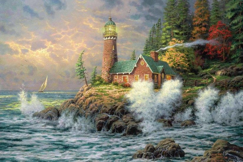 Wallpaper thomas kinkade, lighthouse, sea, art, painting .