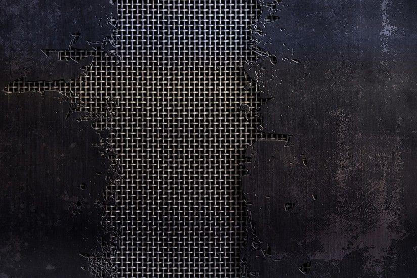 2560x1440 Wallpaper metal, mesh, cracks, scratches, black and white, texture